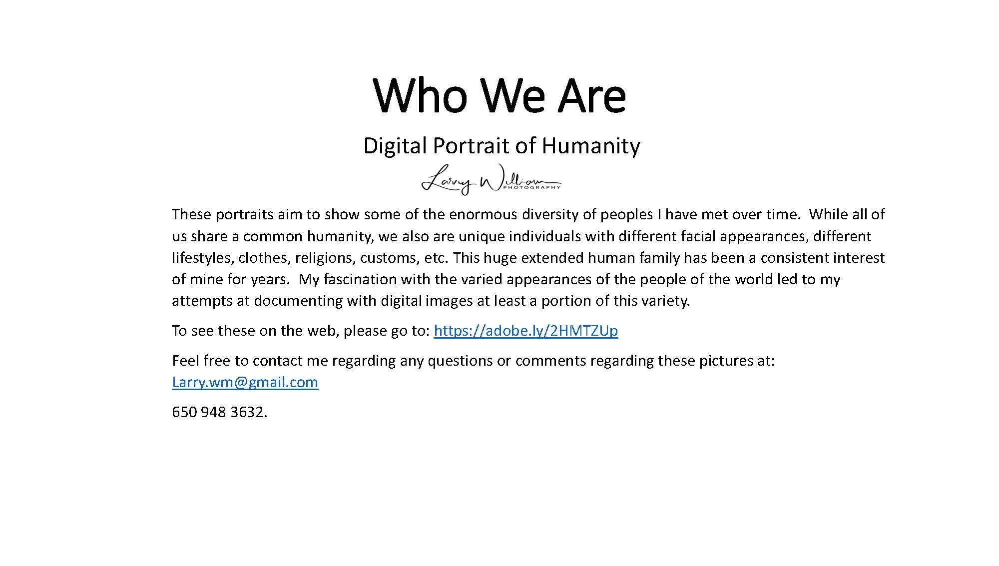 Who We Are: Digital Portrait of Humanity - Larry William