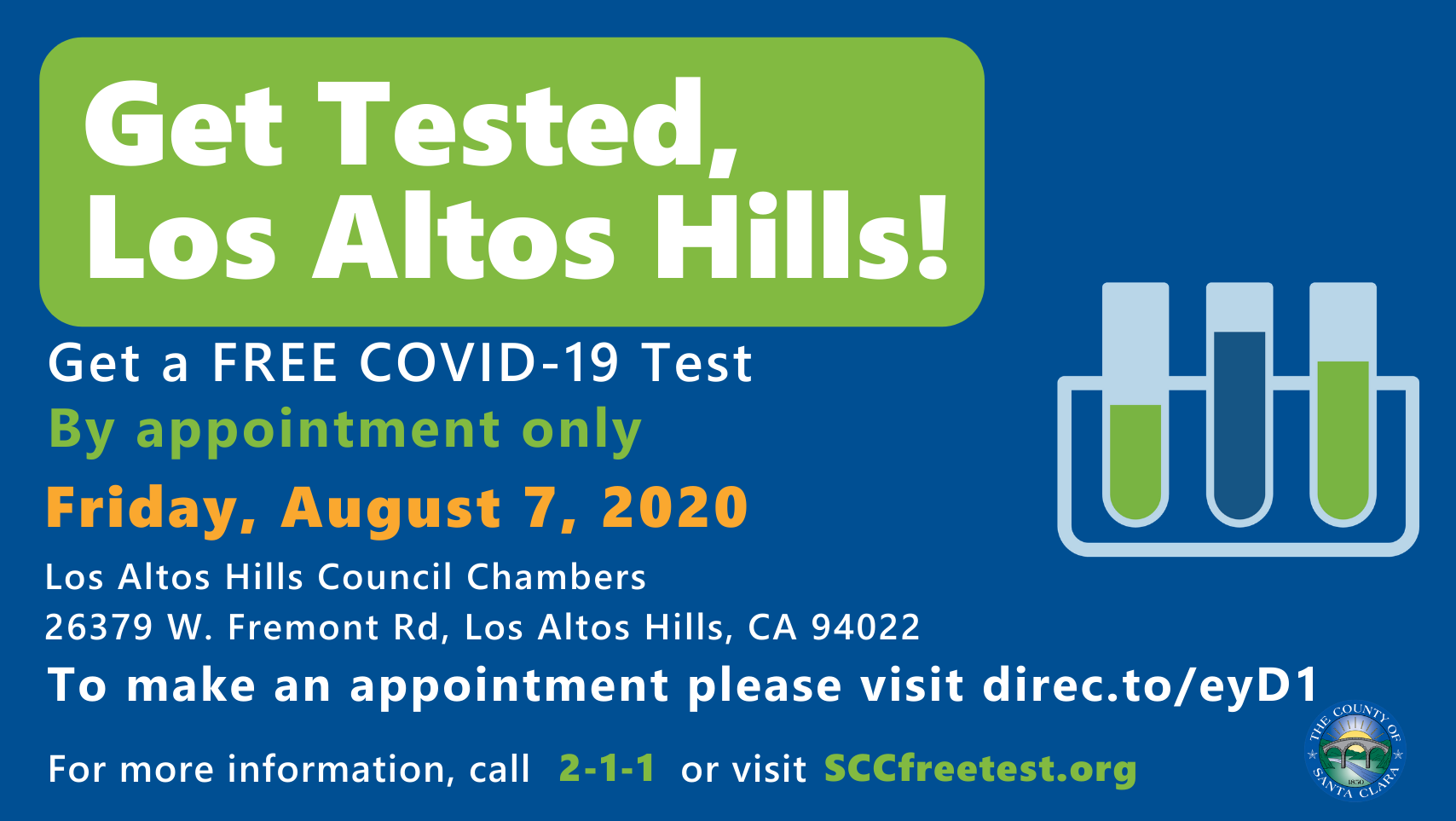 8.7 Get Tested Los Altos Hills! TW FB-EN Appointment only Logo