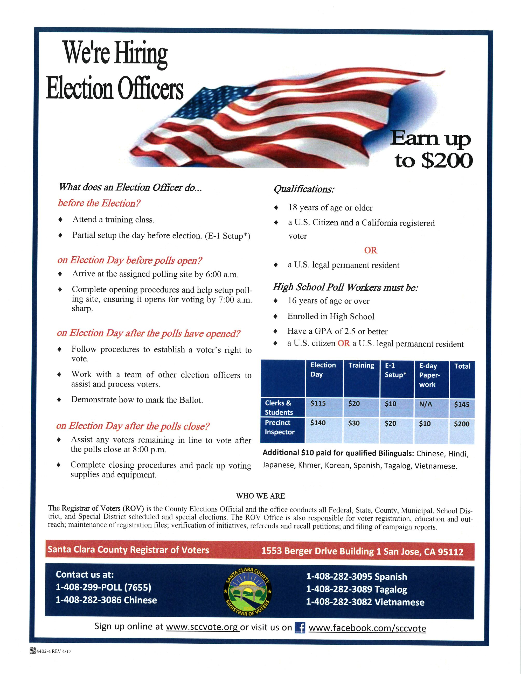 election workers flyer