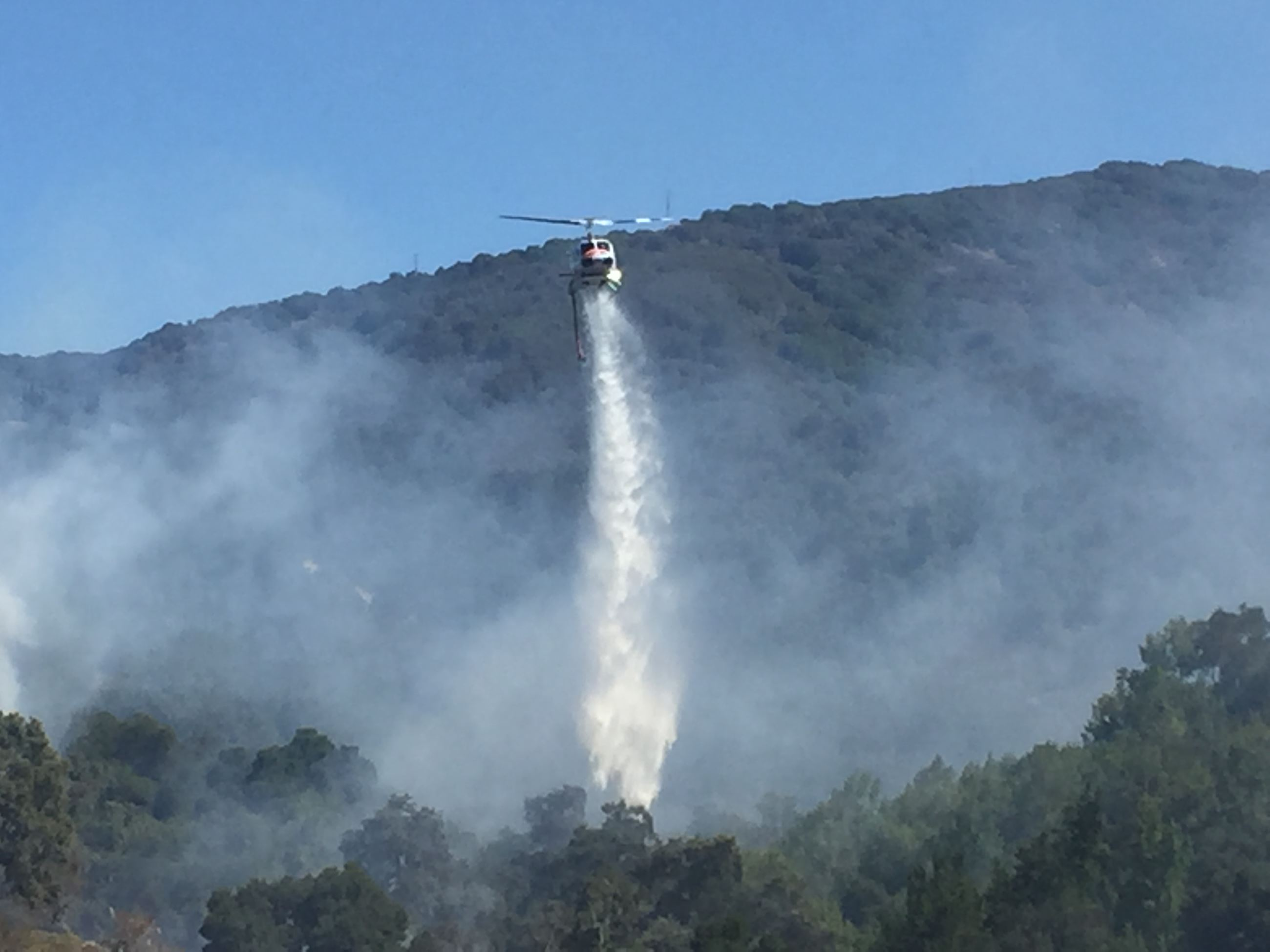 Helicopter Drops Fire Retardant Over Trees
